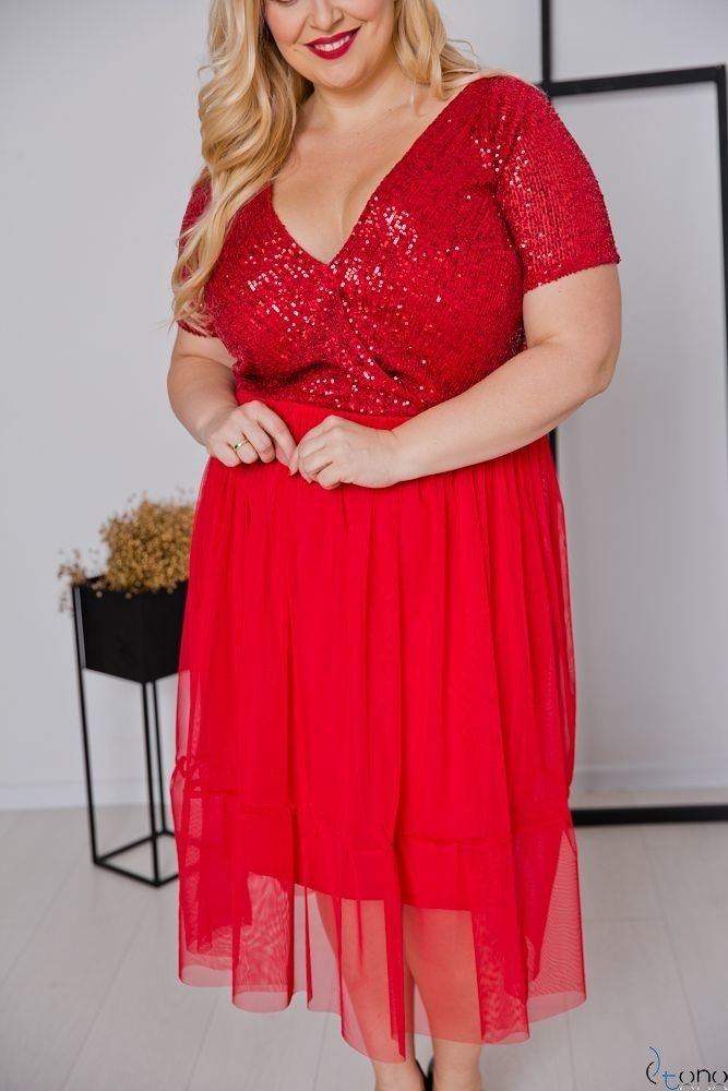 Czerwona Sukienka VESTITA Plus Size