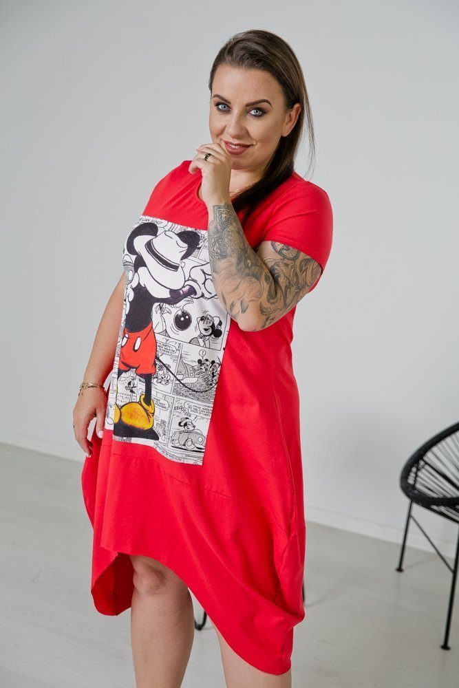 Czerwona Tunika LOTARIA Plus Size