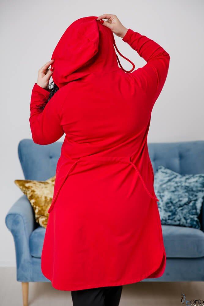 Czerwony Płaszcz CARELIA Plus Size