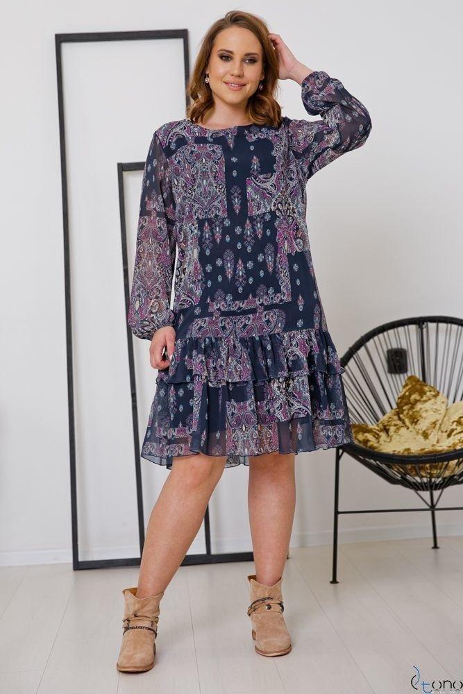 Granatowa Sukienka BOFIERA Plus Size