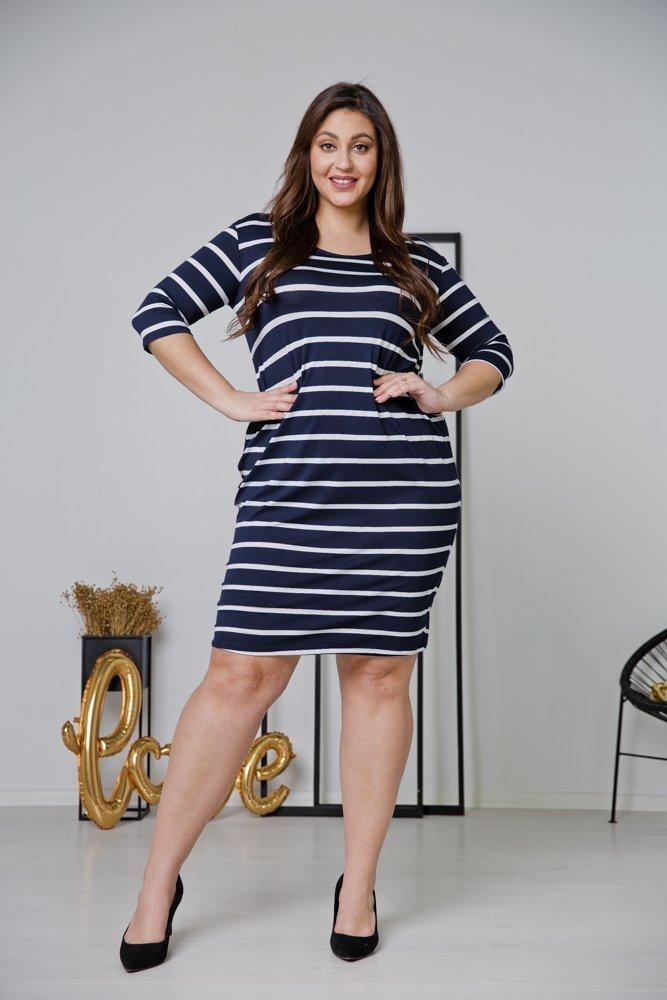 Granatowa Sukienka CALONA Plus Size Wzór 2