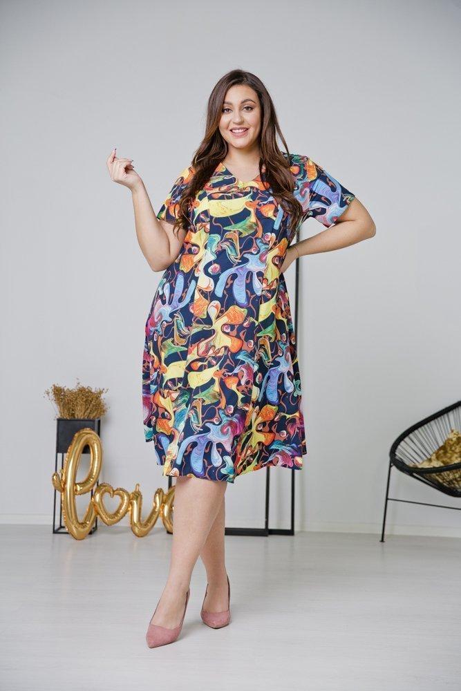 Granatowa Sukienka LILA Plus Size Wzór 3