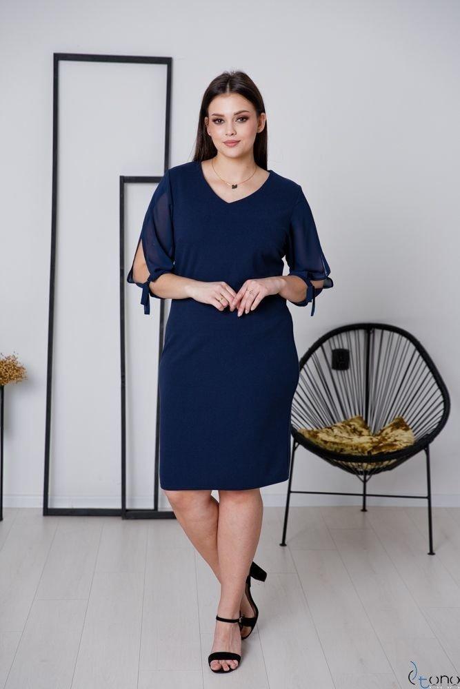 Granatowa Sukienka RETRA Elegancka Ołówkowa