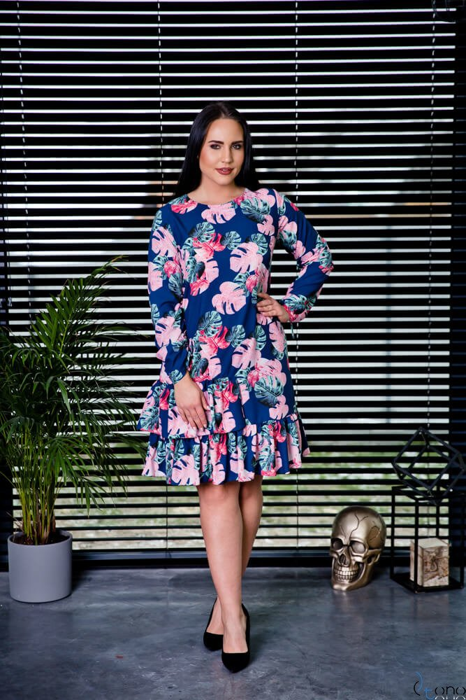 Granatowa Sukienka SUGAR Plus Size Falbanki