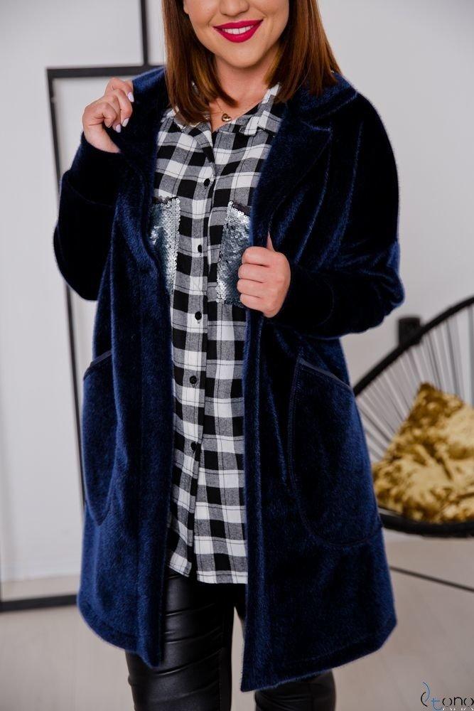 Granatowy Płaszcz BARIOSA Plus Size