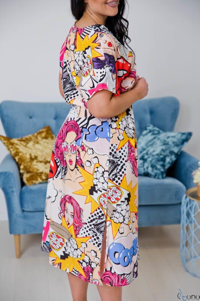 Kolorowa Sukienka SALLOME Plus Size