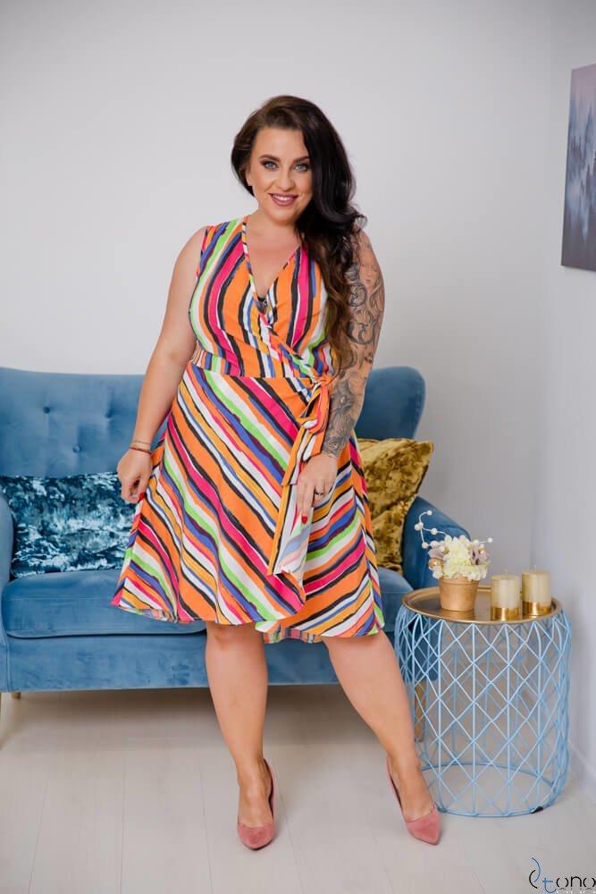 Multikolorowa Sukienka ETNA Plus Size