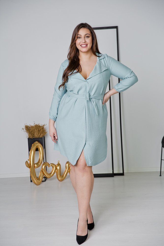 Niebieska Sukienka MERTA Plus Size