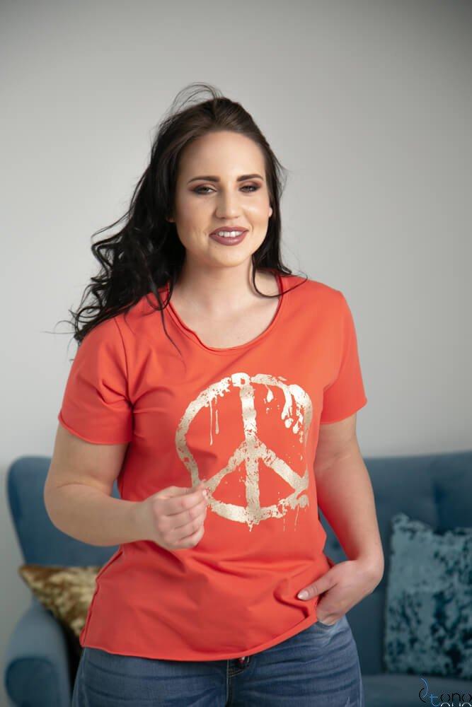 Pomarańczowa Bluzka PEACE Plus Size