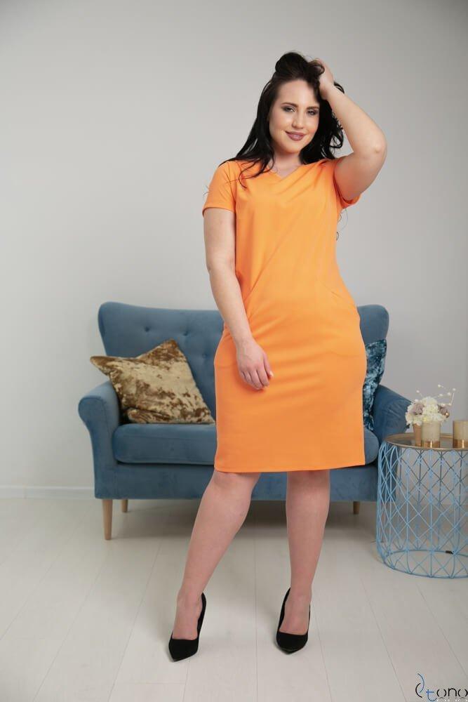 Pomarańczowa Sukienka EJMY Plus Size