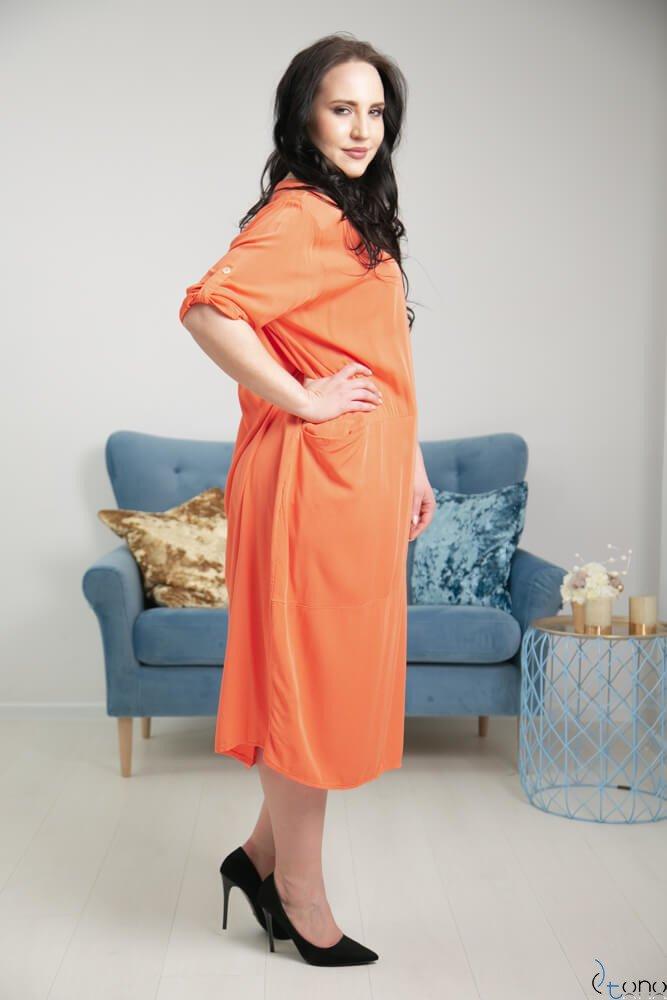 Pomarańczowa Sukienka SIMILLA Plus Size