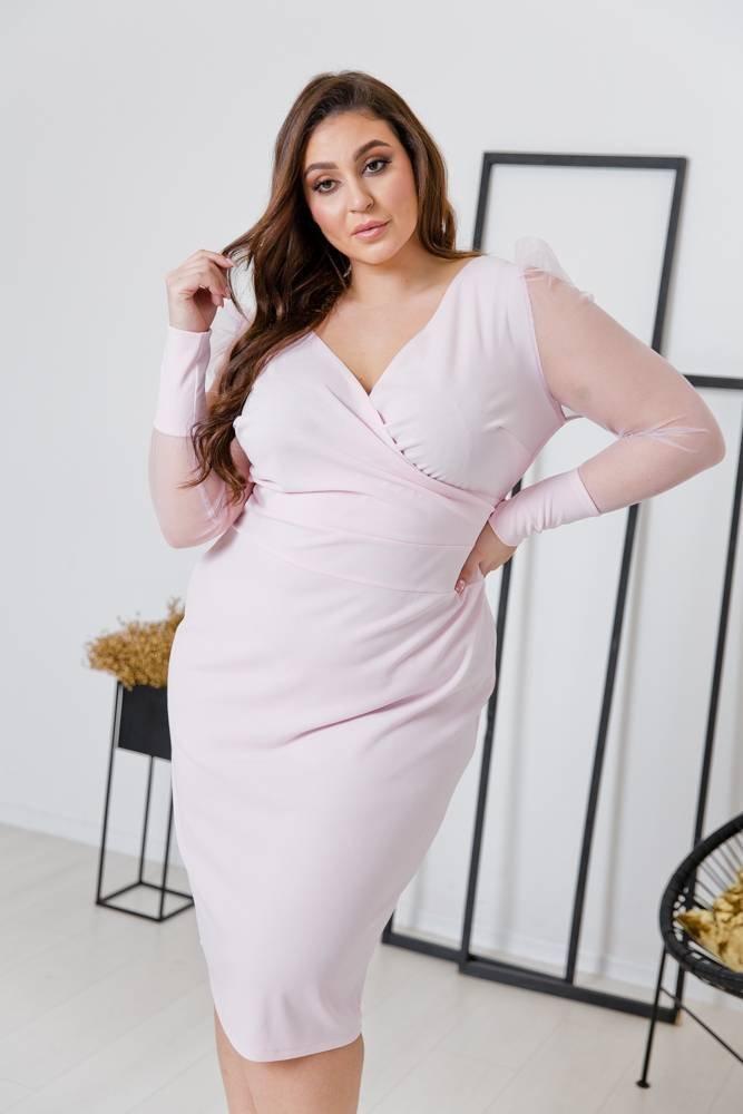 Pudrowo różowa Sukienka SINDERELA Plus Size