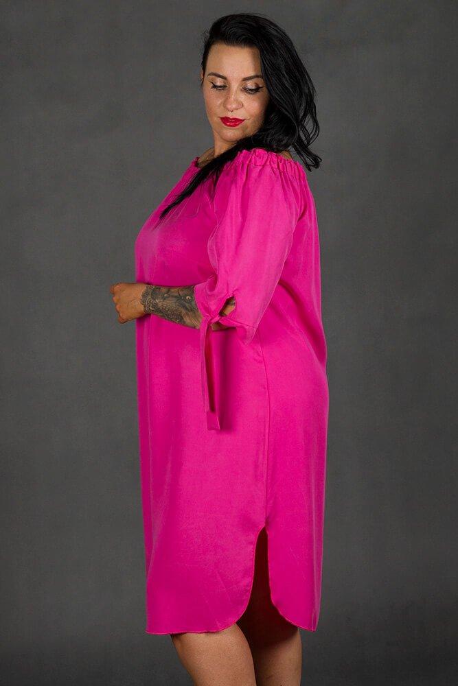 Sukienka VALENCIA Hiszpanka Plus Size Fuksja