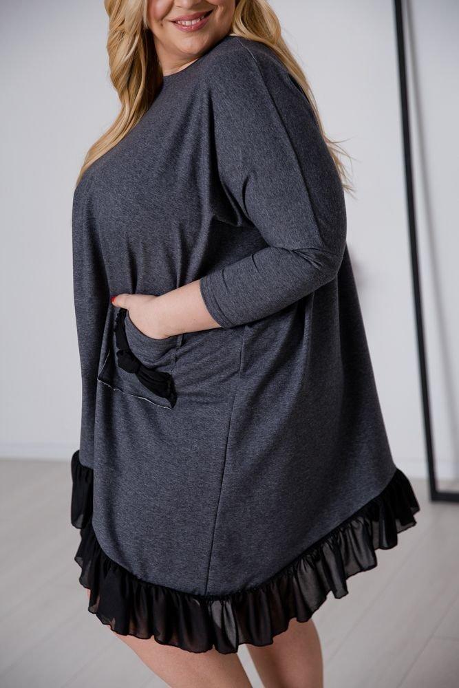 Szara Sukienka PRINCESKA Plus Size