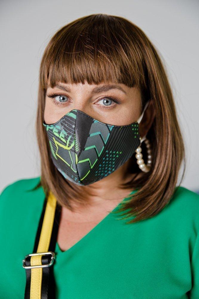 Zielona Bawełniana Maseczka Maska Wielorazowa Wzór 8