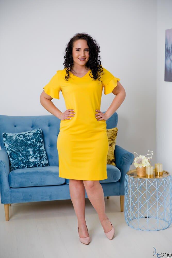 Żółta Sukienka VELMA Plus Size