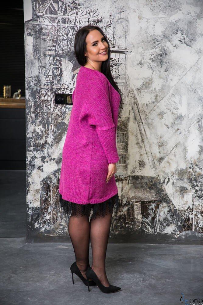 Amarantowa Sukienka ANDER  Plus Size