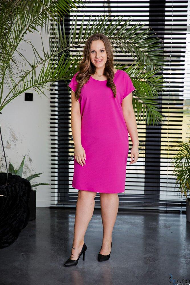 Amarantowa Sukienka CARBONA Plus Size