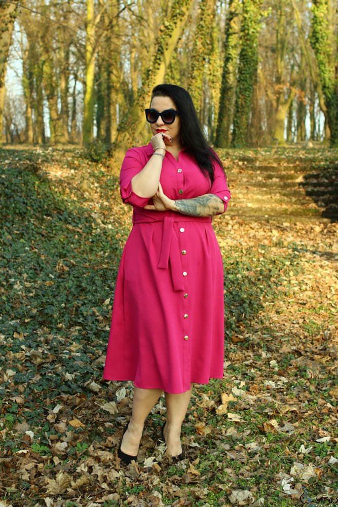 Amarantowa Sukienka LORRINA Plus Size