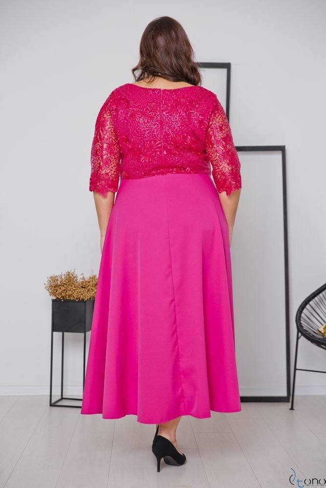 Amarantowa Sukienka SAFYANA Plus Size
