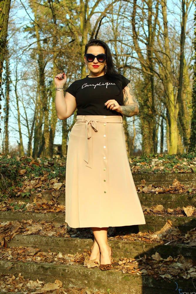 Beżowa Spódnica CANELLA Plus Size