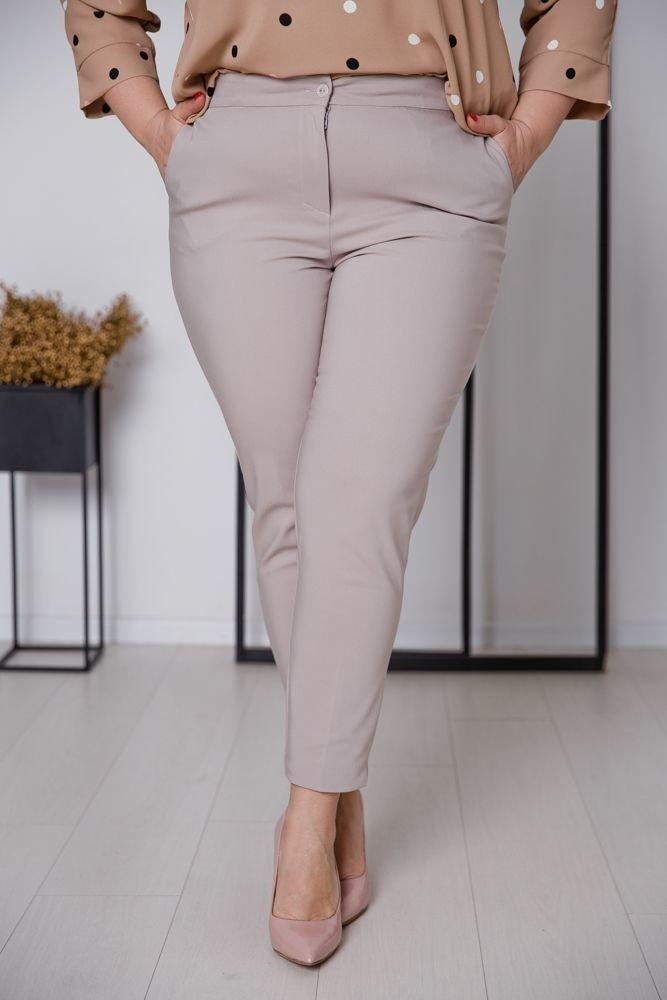 Beżowe Spodnie SHILOW Plus Size