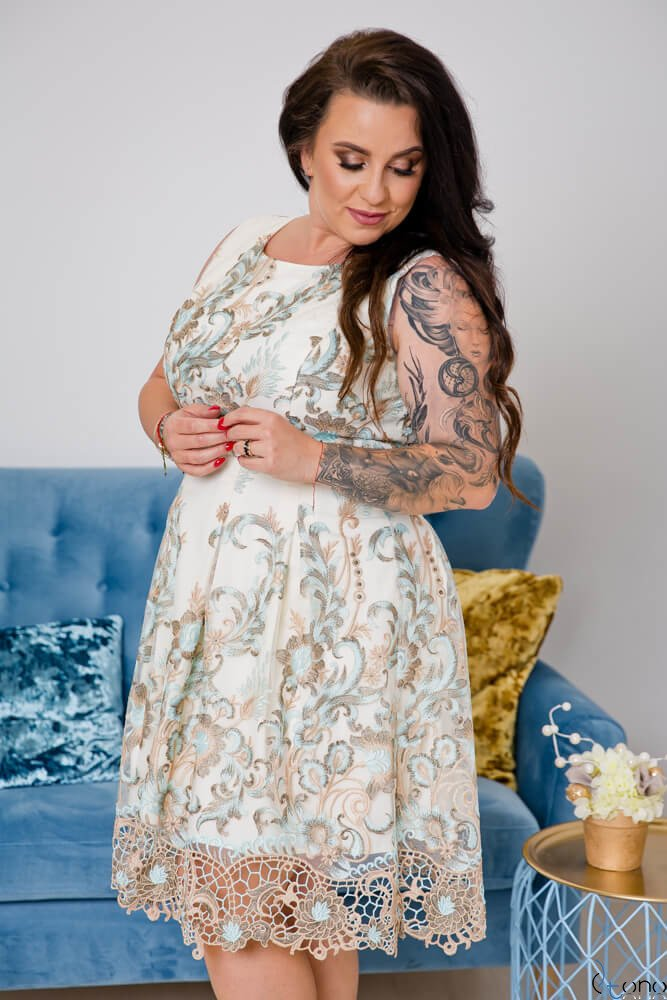Beżowo-Niebieska Sukienka GENIO Plus Size