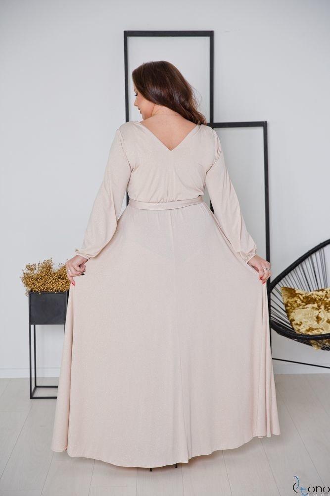 Beżowo-Złota Sukienka SAVOY Plus Size