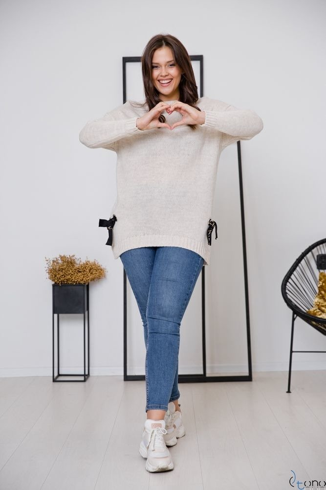 Beżowy Sweter EMPIRE Plus Size
