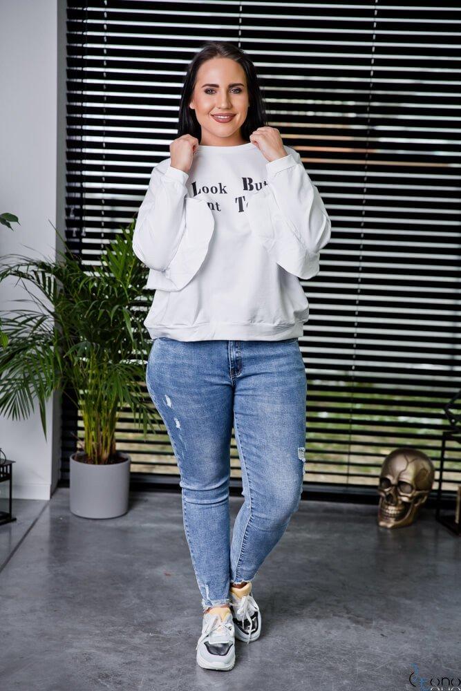Biała Bluza POSTER Plus Size