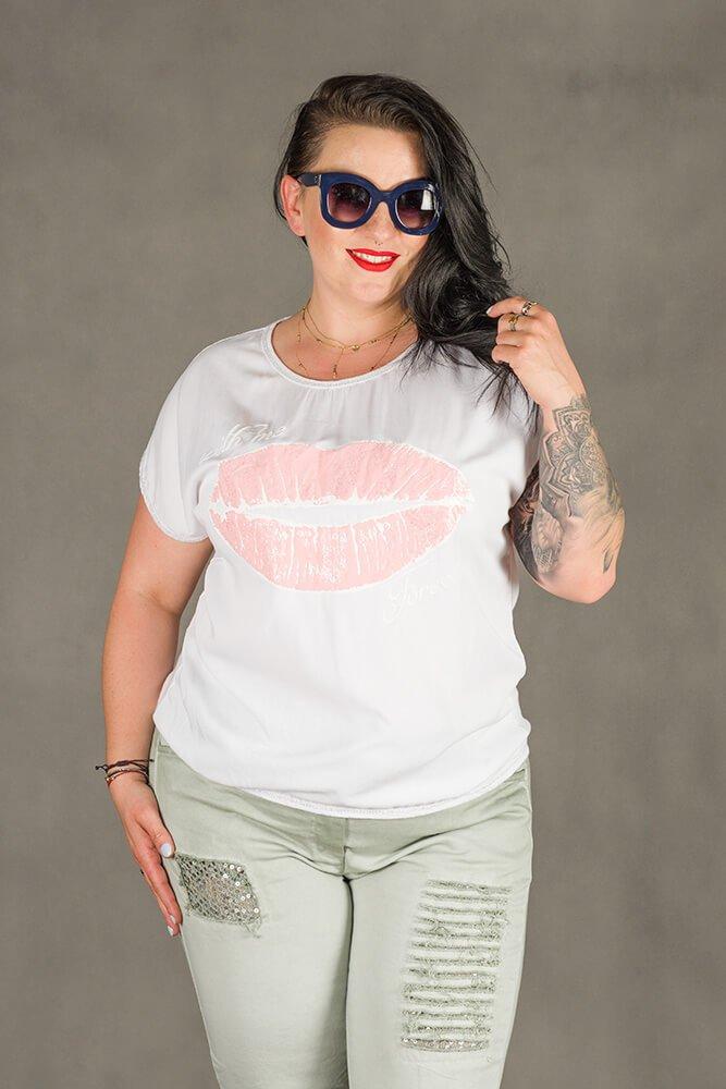 Biała Bluzka BOCCA T-shirt Plus Size