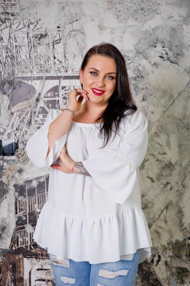 Biała Bluzka CARLITA Plus Size