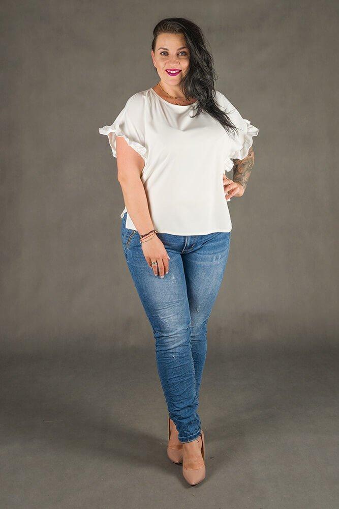 Biała Bluzka LOGJA Plus Size
