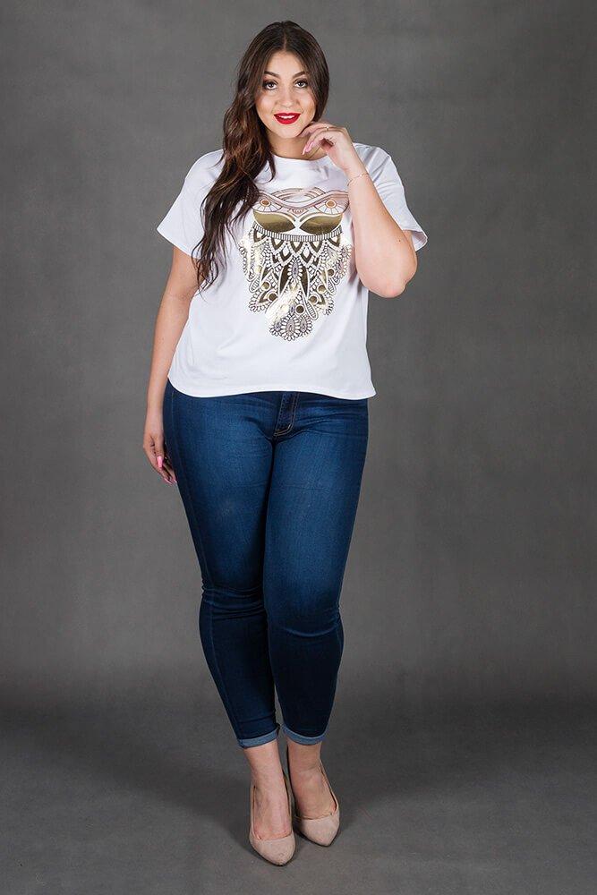 Biała Bluzka OWL T-shirt Sowa