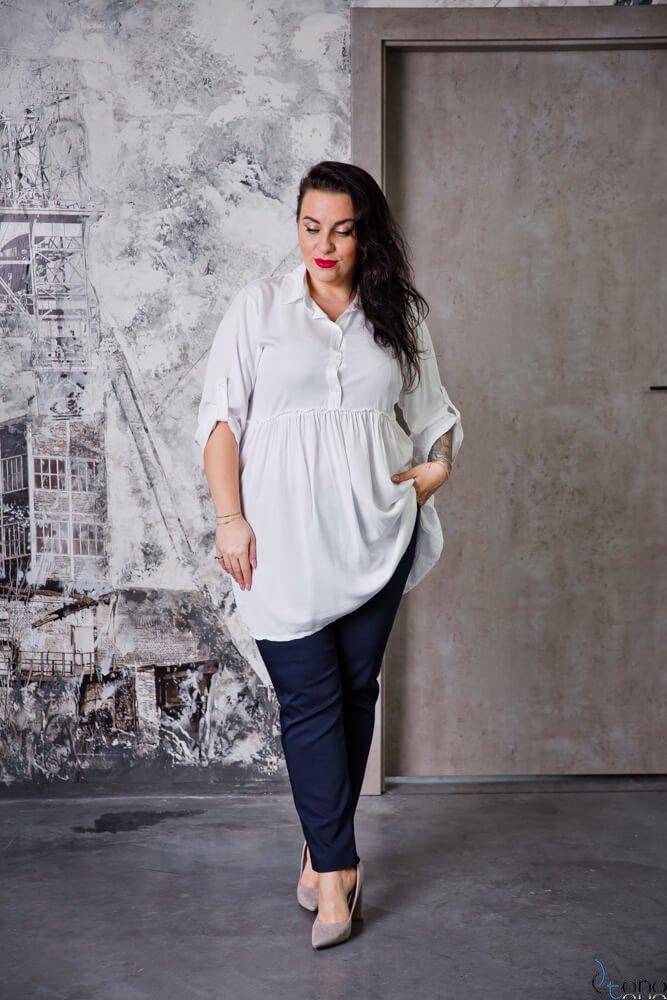 Biała Bluzka TERMINA Plus Size