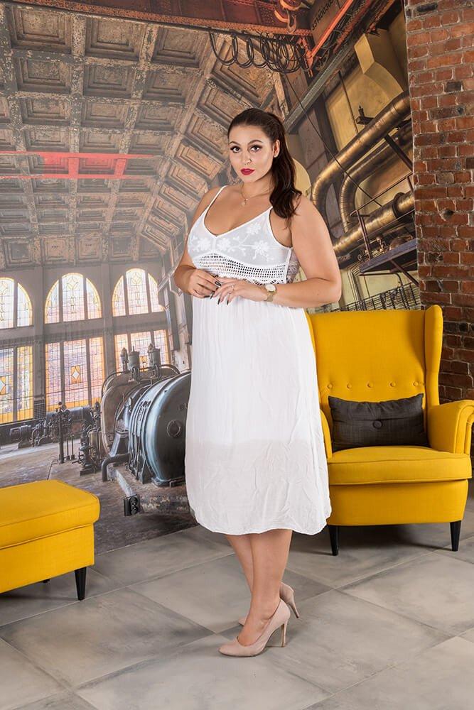Biała Sukienka CAGLIARI Maxi Plus Size
