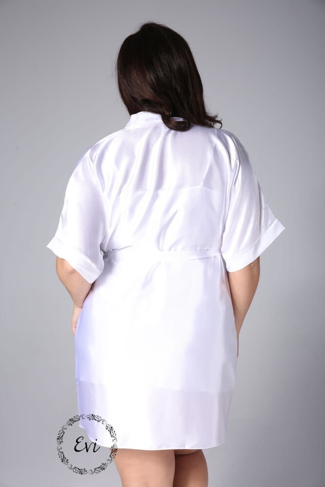 Biały Szlafrok AMY Satynowy Plus Size