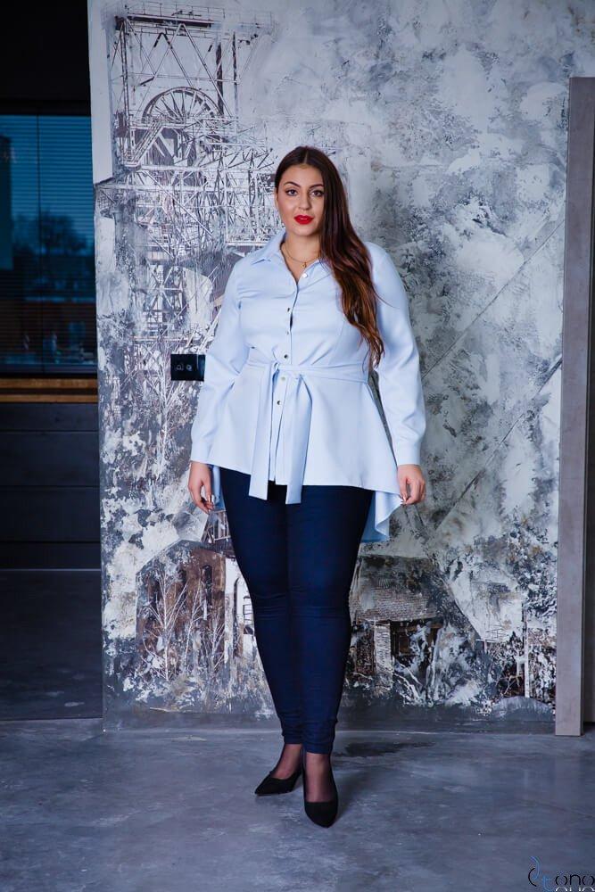 Błękitna Koszula damska LANICA Plus Size