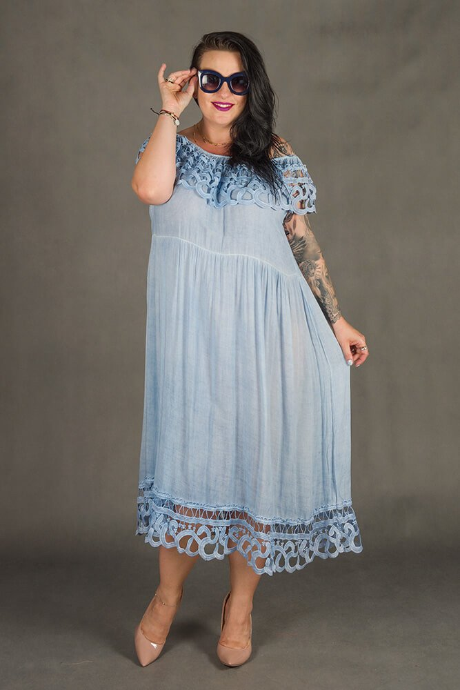 Błękitna Sukienka VACANZA Hiszpanka Plus Size