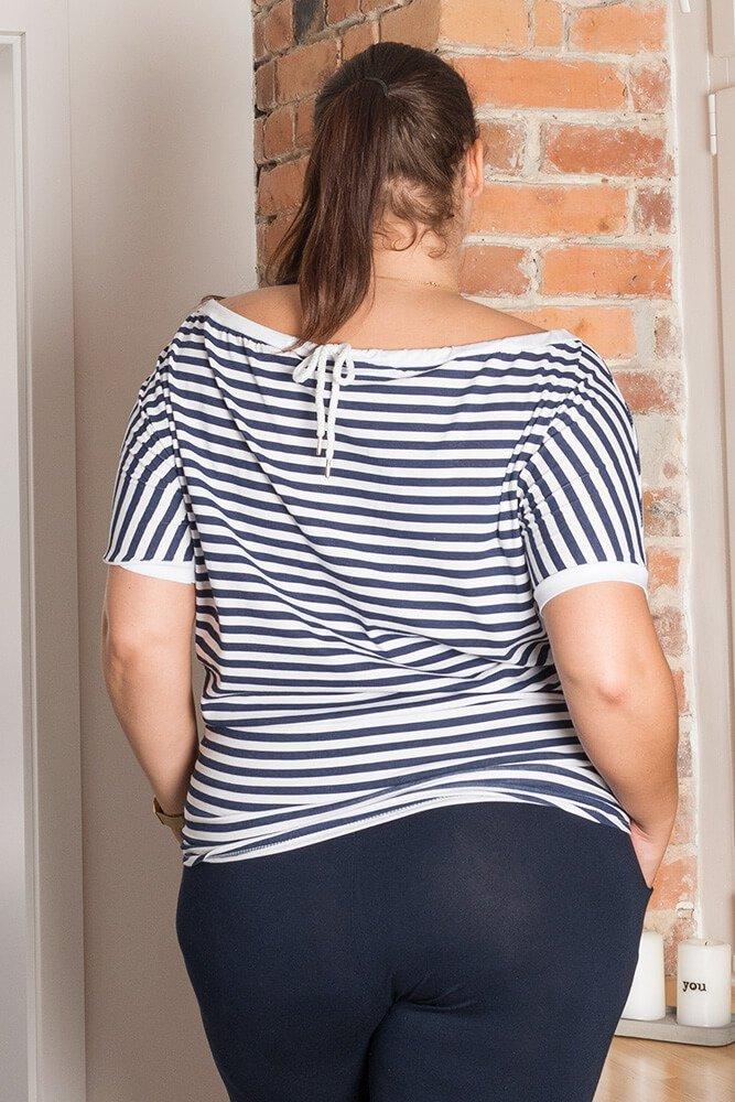 Bluzka MARINA Plus Size Granatowo-Biała