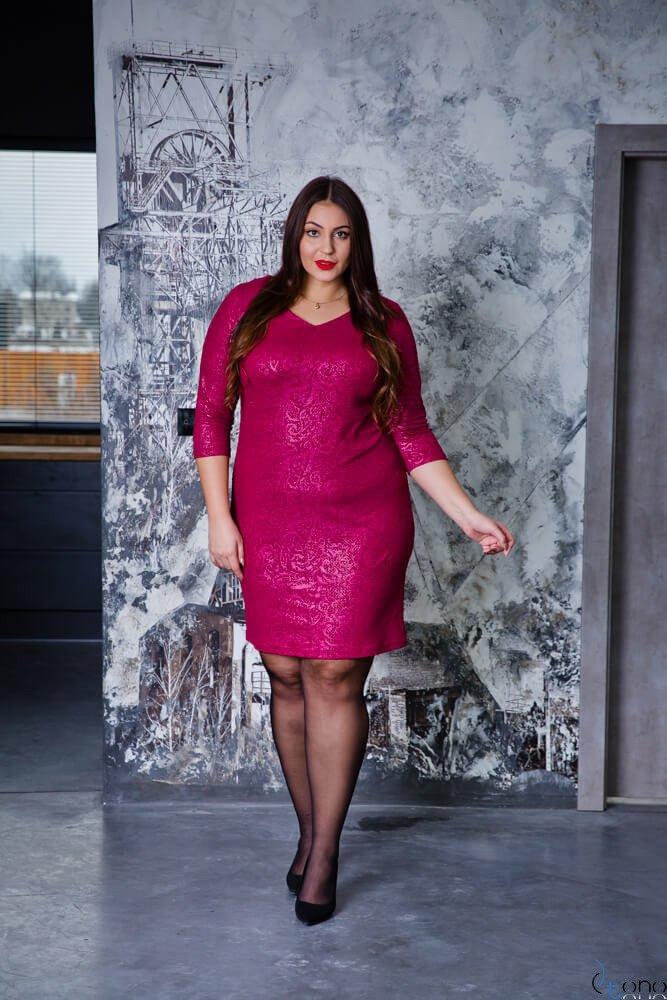 Bordowa Sukienka LERRIDA Plus Size