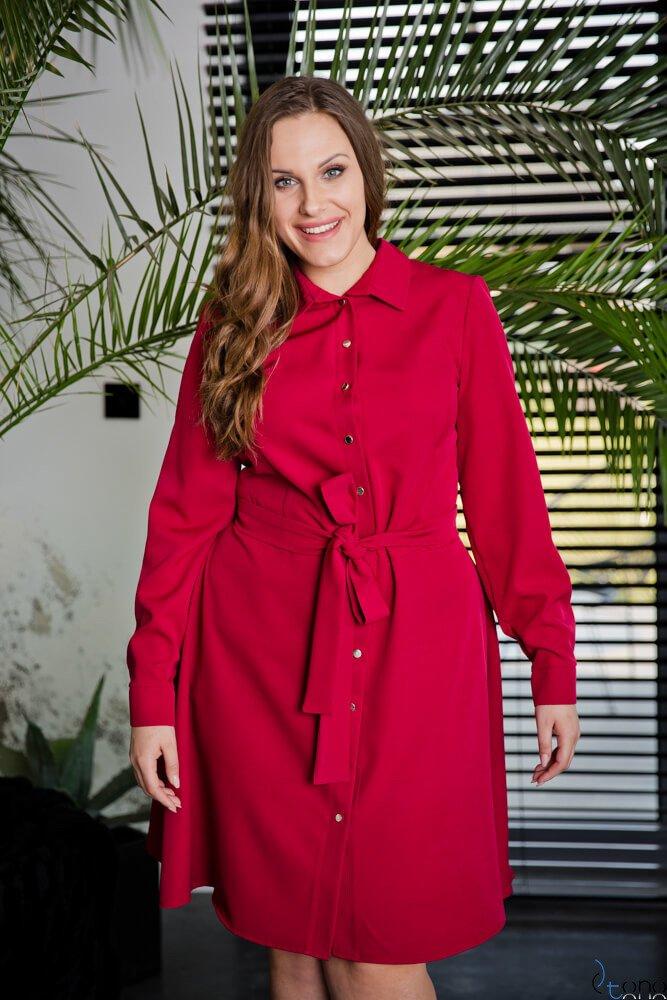 Bordowa Sukienka MARCYA Plus Size