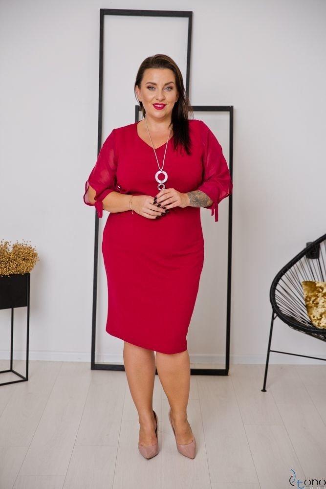 Bordowa Sukienka RETRA Trapezowa Plus Size