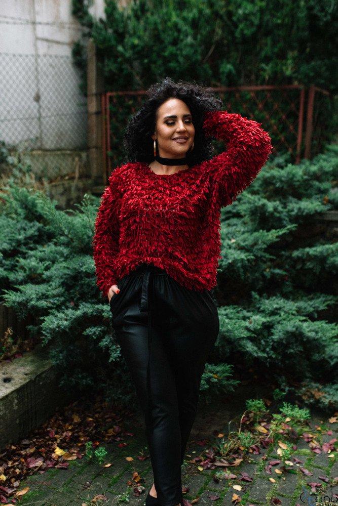 Bordowy Sweter TUVES Plus Size