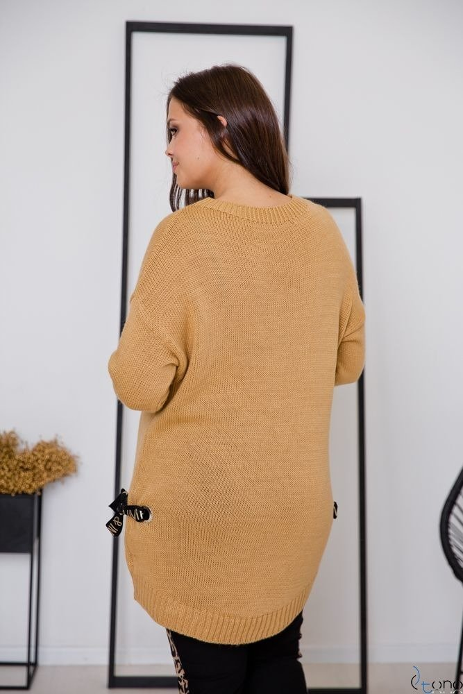 Camelowy Sweter EMPIRE Plus Size