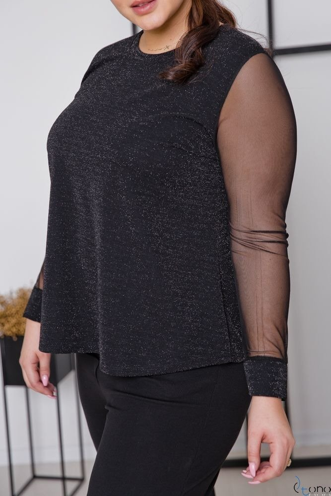 Czarna Bluzka LETERIA Plus Size