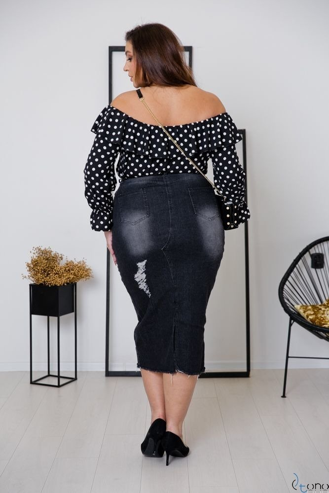 Czarna Bluzka LOREZIA Plus Size