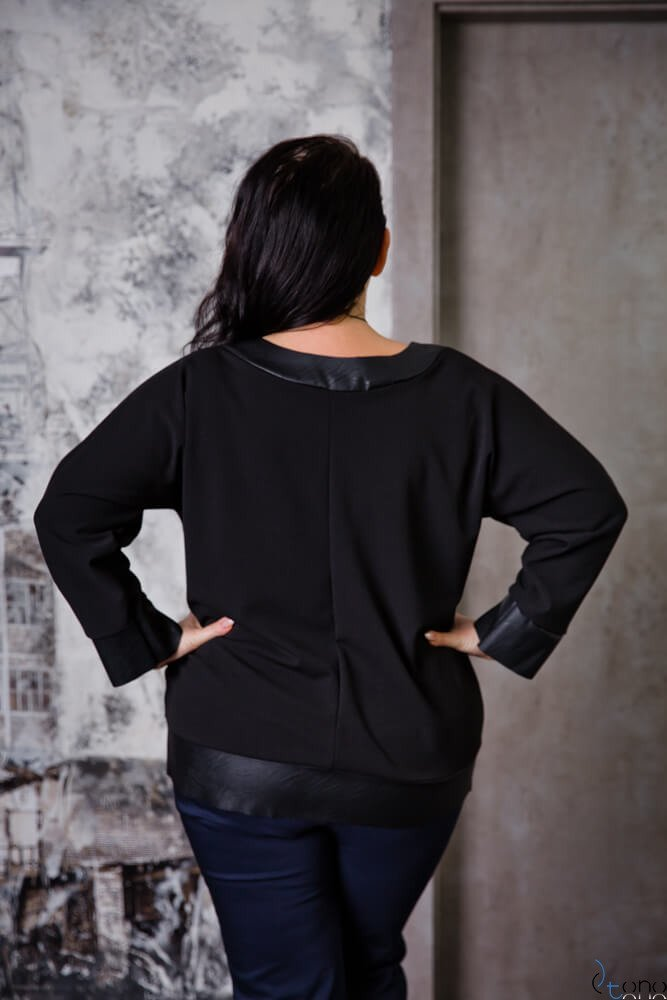 Czarna Bluzka MERRIDA Plus Size