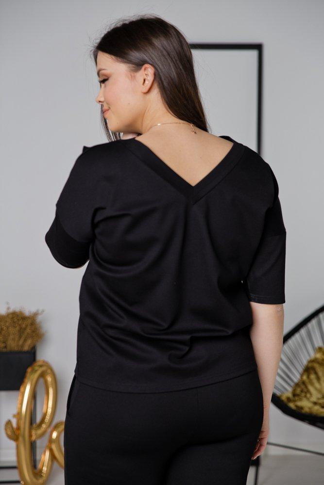 Czarna Bluzka MORGAN Plus Size