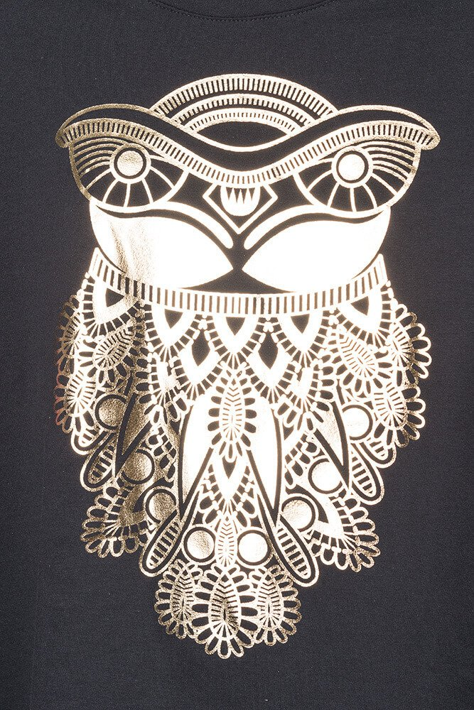 Czarna Bluzka OWL T-shirt Sowa